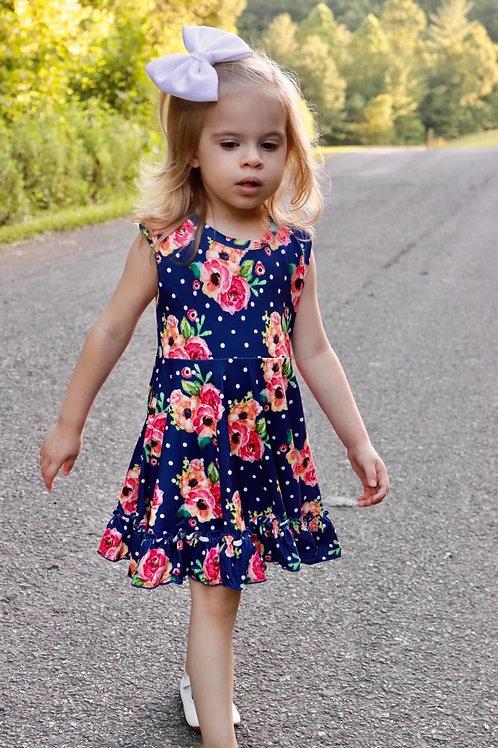 Floral sleeveless twirl dress