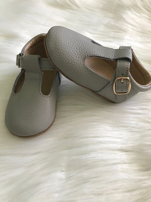 Grey leather t-straps