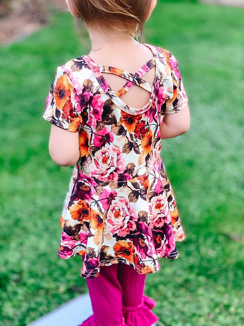 Floral cross back peplum