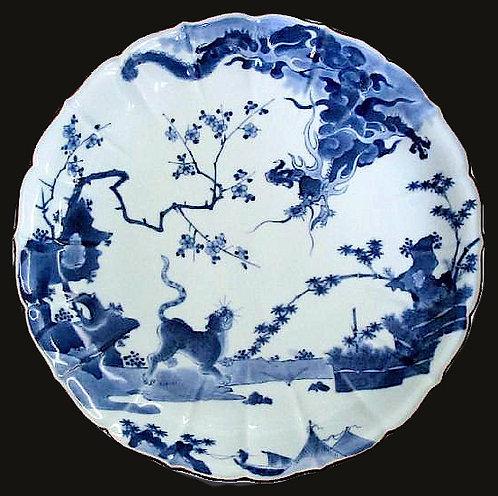 Ai-Kakiemon, Arita kiln, Kakiemon blue & white dish, Johanneum coll., c1690