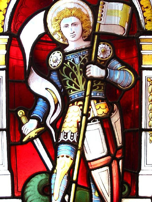 A 19thc Ward & Hughes stained glass window, 'The Union of Great Britain' c1852