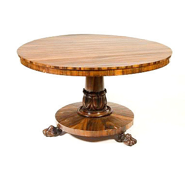 A fine William IV rosewood tilt-top breakfast table, or 'loo table', c1835