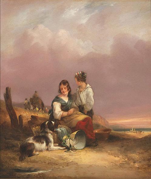 William Shayer Sr RBA (1787-1879) 'Fisherman's Children' Southampton, 1842