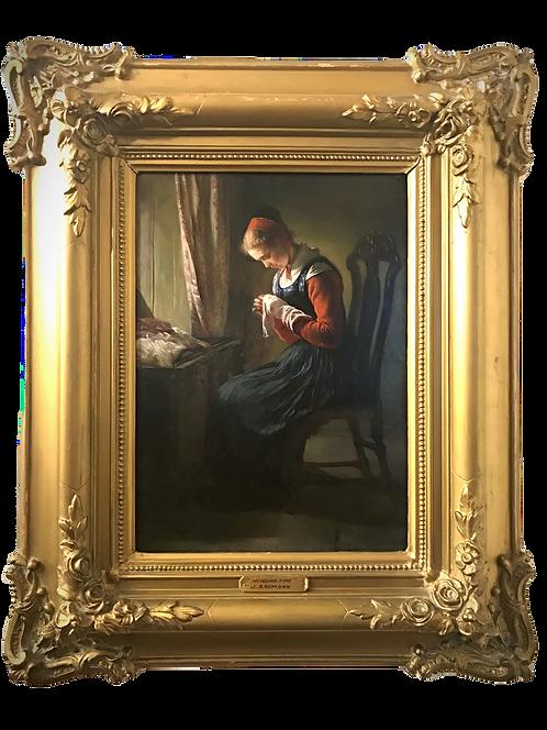 Elisabeth Jerichau-Baumann (Danish, 1819-1881) The Stocking-Mender circa 1868