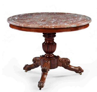 A fine Louis Philippe mahogany marble-topped Gueridon centre table c1835