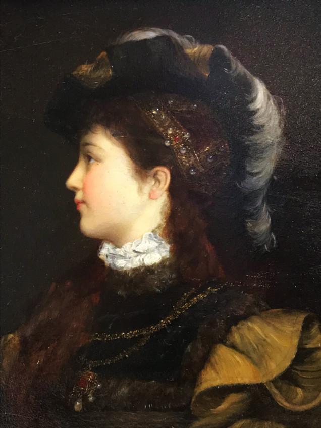 ANTON BERTZIK   Profile of a beauty in Renaissance costume c1880