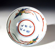 Arita ko-Kutani bowl with ho-o birds, c1655