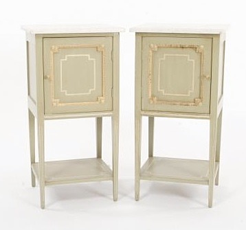 Louis XVI tables chenets pair