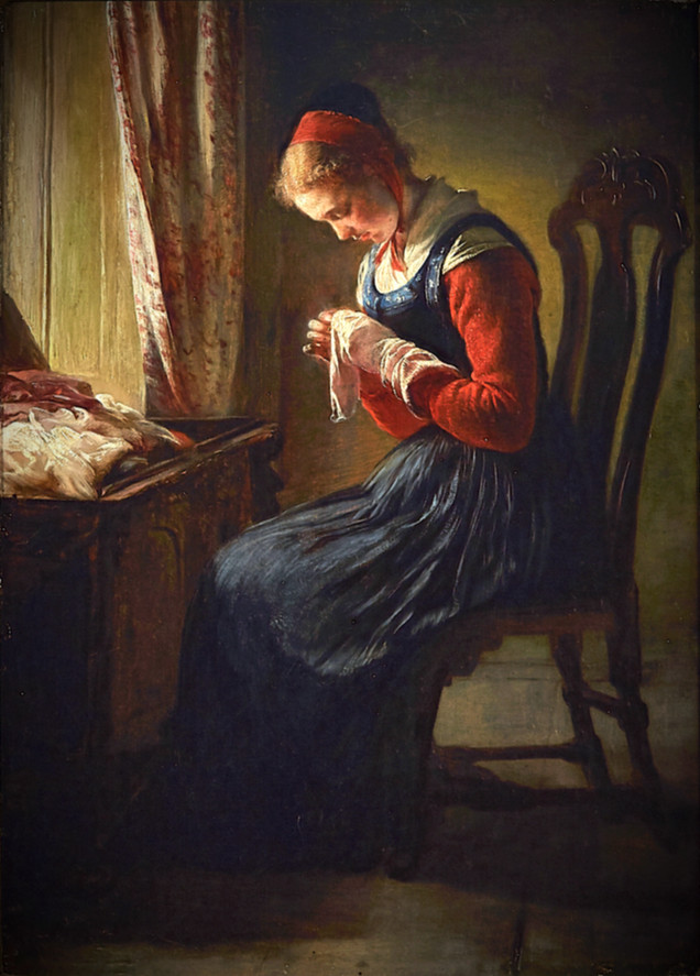 ELISABETH JERICHAU-BAUMANN | The Stocking-Mender | Collection of Queen Victoria | c1868