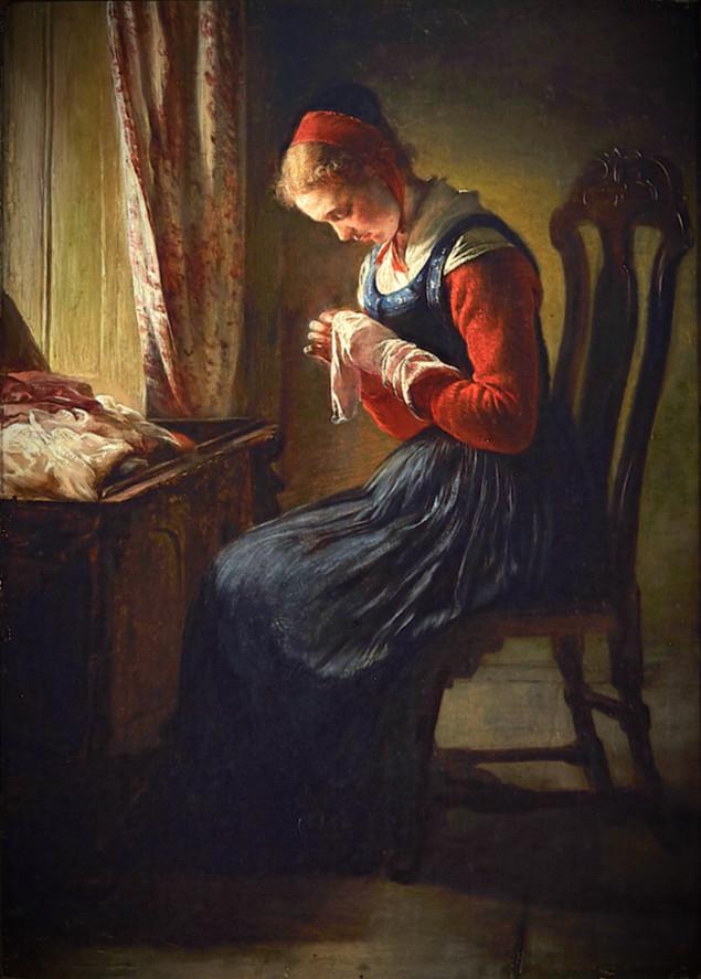 ELISABETH JERICHAU-BAUMANN   The Stocking-Mender   Collection of Queen Victoria   c1868