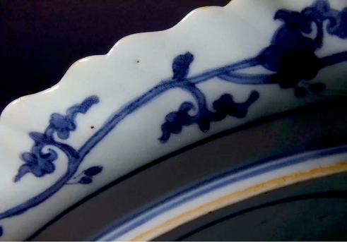 Ai Kutani moulded dish with peony, Chokichidani kiln, Arita c1655