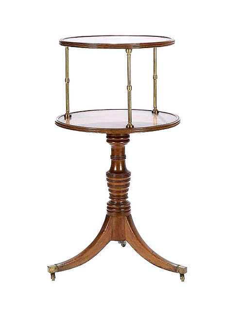 An attractive 19th C mahogany and brass-mounted two-tiered dumb waiter
