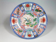 Arita enamelled Kraak-style dish, c1690