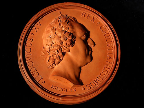 18thc French terracotta portrait relief of Louis XV, by Jean-Baptiste Nini, 1770