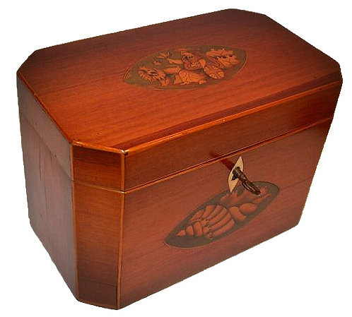 A fine George III rosewood double tea caddy inlaid with Britannia c1798
