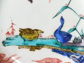 Arita ko-Kutani early enamelled Geese & Reeds dish, c1650