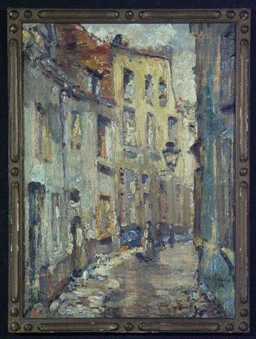 René Clarot (Belgian, 1882–1972) 'Ruelle bruxelloise animée' dated 1918