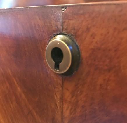 William IV mahogany chest of drawers c1830 detail Bramah lock