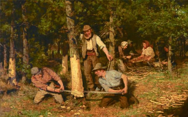 WILLIAM STEWART MACGEORGE   Bark Peeling   c1889