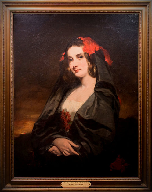 James Inskipp (British, 1790-1868) Portrait of a Maja in a mantilla, c1833