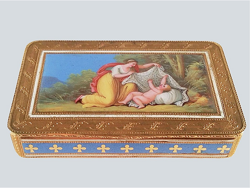 A magnificent early 19thC gold & enamel snuff box, FJ crowned incuse, c1800