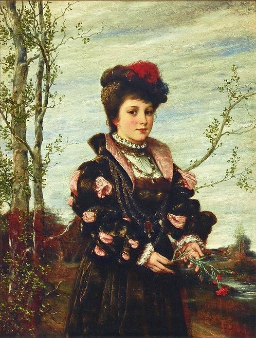Anton Bertzik (Austrian, 1856-1889)  'A Morning Walk - Spring', c1880