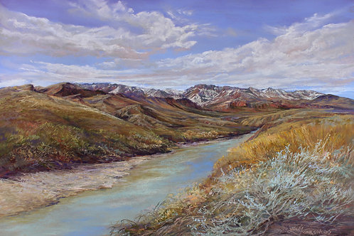 snow capped desert mts on the Rio Grande landscape painting by Lindy Cook Severns
