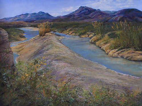 glittering Rio Grande sandbar and golden cane landscape painting by Lindy Cook Severns