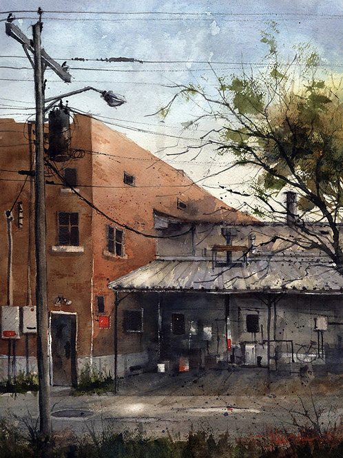 alley and old buildings cityscape watercolor by Tim Oliver
