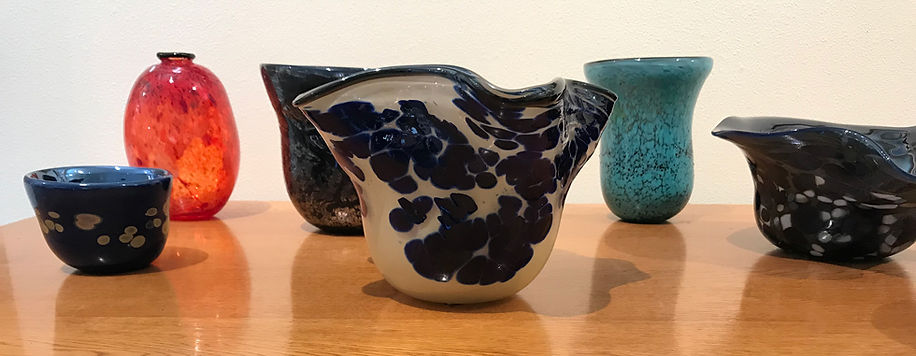 blown glass bowls by vickie bunting on table