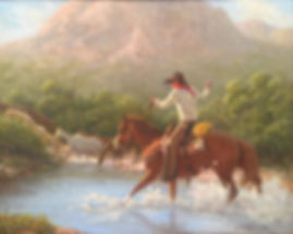 cowboy on horse herds horses across mountain river wayne baize oil painting