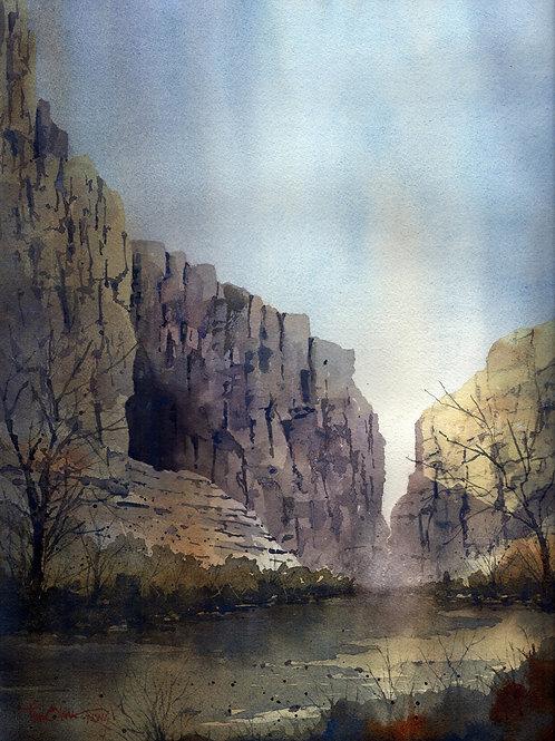 Santa Elena Canyon and river watercolor by Tim Oliver