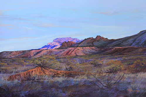 lilac russet and peach desert at sunset southwest landscape painting by Lindy Cook Severns