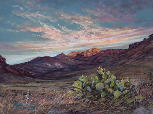 Big Bend NP dawn on prickly pear landscape painting by Lindy Cook Severns