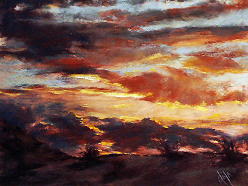 colorful skyscape miniature pastel by Dina Gregory