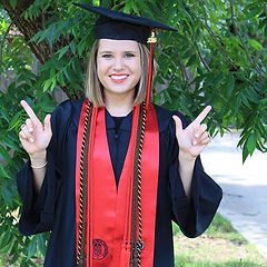 nicole miller saffery graduate in cap and gown texas tech university