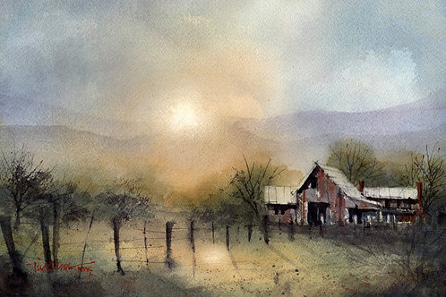 sunset breaks thru dusty clouds over farmhouse watercolor by Tim Oliver