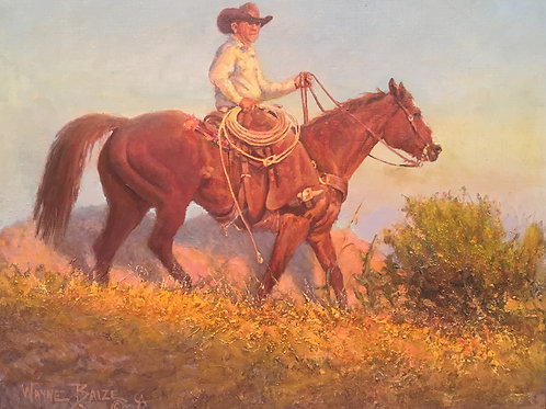 cowboy on horse oil painting