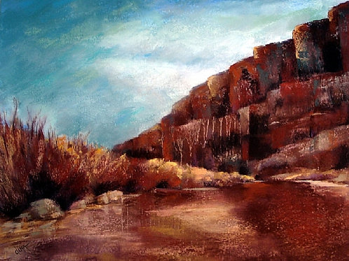 autumn color along the Rio Grande under red cliffs landscape by Dina Gregory