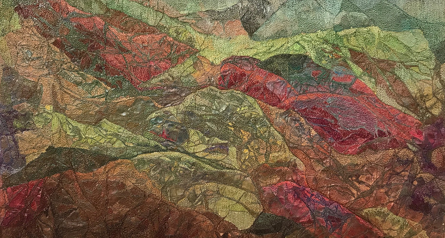 red and green abstract design thread painting anne eckley art