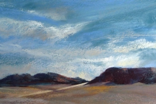 blue on blue sky over Texas desert landscape painting by Dina Gregory