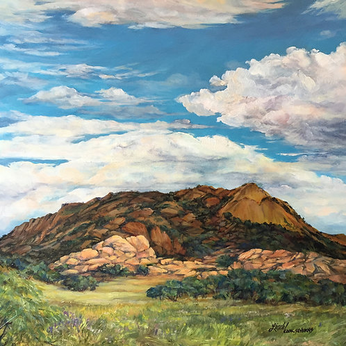 White clouds over Point of Rocks in summer oil landscape by Lindy Cook Severns