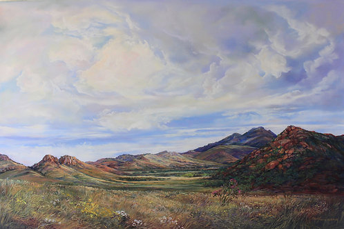 summer clouds over Texas mountain ranch country landscape painting by Lindy Cook Severns