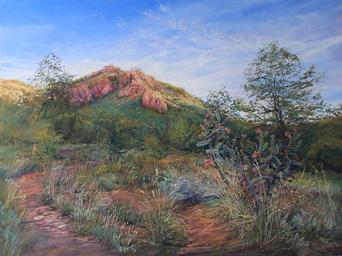southwest landscape painting red cliffs and summer foliage Lindy Cook Severns art