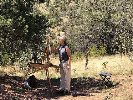 artist painting in davis mts gallery workshop on mt