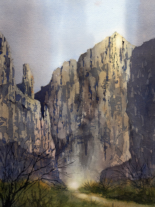 Boquillas Canyon walls glow with soft light watercolor landscape by Tim Oliver