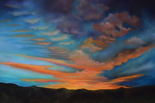 turquoise and orange sunset landscape painting by Ginger Lemons