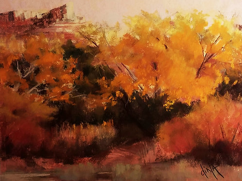 autumn gold colors in forest landscape painting by Dina Gregory