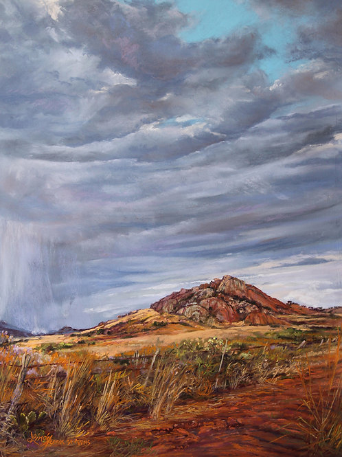 blue cloudy sky over red Point of Rocks landmark landscape painting by Lindy Cook Severns