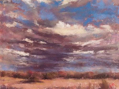 layered clouds over golden grassland landscape painting by Dina Gregory
